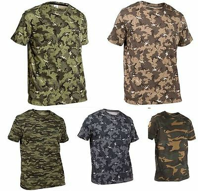 Camouflage T-shirt Hunting Fishing Nature Wildlife Military 100% Cotton Army New