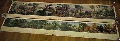 2 1975 9 Foot Long The Age of Reptiles & Mammals Mural By Rudolph Rudy Zallinger