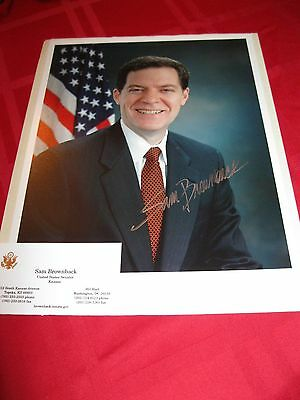 Senator Sam Brownback signed autographed 8x10 Photo with Business Card Kansas