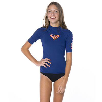 Roxy Girls Hearted Short Sleeve Rash Vest in Blue