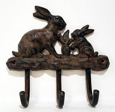 Heavy Cast Metal Iron Rabbits Primitive Brown 3 Hook Victorian Style