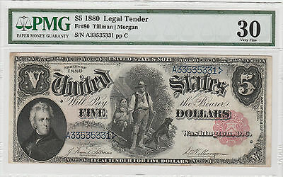Circulated 1880 $5 United States Note--Fr. 80, Woodchopper, Legal Tender
