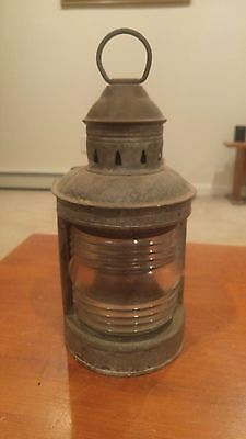 Old Wilcox Crittenden Nautical Lantern ships boat lamp clear ribbed glass