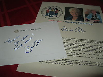 Senator Diane Allen signed autographed 8.5x11 fact sheet with Personal 5x7 card!