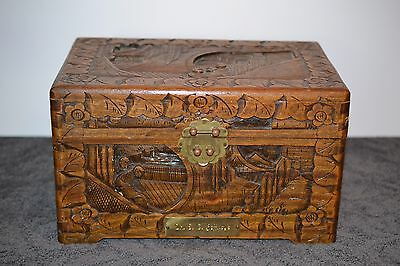 ANTIQUE CARVED WOOD CHEST BOX ~ Asian Hong Kong Camphor & Brass w/ Name Plate