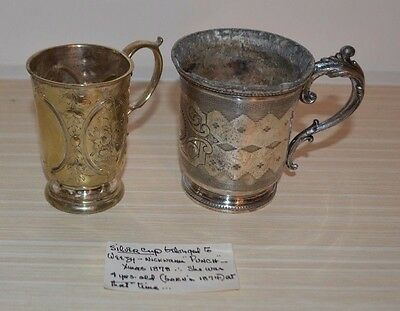 Antique Wilcox  Pair Of 19Th Century Silver Plated Handled Cups With Card