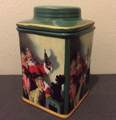 Coca Cola Collectible Stoneware Canister Box Coke Santa Claus Cookie, Snack Jar