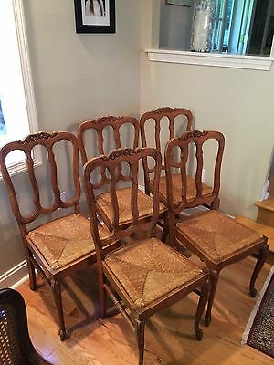 5 Antique French Country Chairs circa 1900 with Rush Seats