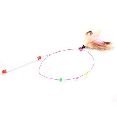 Stick Game Wand with Colored Feather Ball Bell Fun Toy for Cat Kitten Anim L0R5
