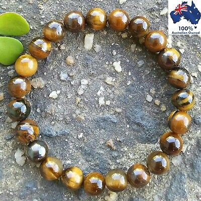 TIGERS EYE Gemstone Chakra Bracelet Crystal Healing 100% Natural Earthy Stones