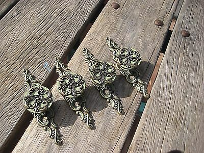 Vintage ***   1968 JB   *** Ornate Brass Drawer Cabinet Knob Pull Set of 4