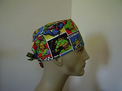 Surgical Scrub Tieback Hat/Cap-Teenage Mutant Ninja Turtles- One size- Men Women