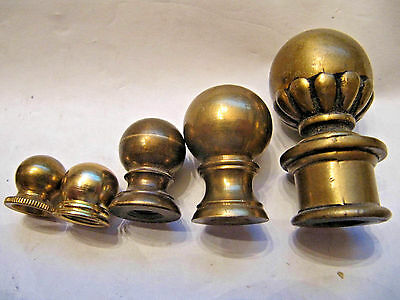 4 - Vintage Solid Brass Ball Lamp Finials 1 - Gold Painted Ball Finial