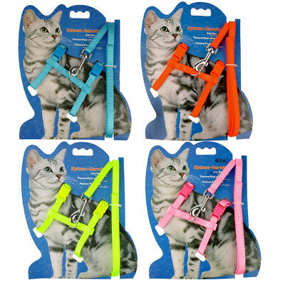 Nylon Cat Harness and Leash Set Kitten Harness Strap Vest Pink Blue Yellow