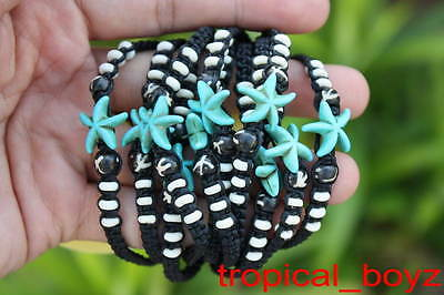 10 Blue Sea Star Fish with White Bone Beads Slip-Knotted Bracelets Wholesale