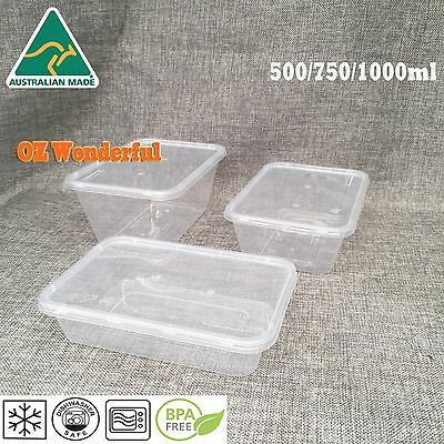 Take away Food Containers Takeaway Food Plastic Lids Bulk 500/750/1000ml AU Made