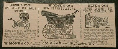 Rare 1884 Pram Carriages Monk & Co Advert
