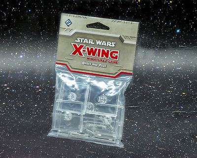 Star Wars X-Wing Miniatures Game Clear Bases and Pegs - New - Aus Stock