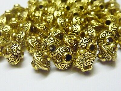 50 pce Dainty Metal Antique Gold Etched Bicone Spacer Beads 6.5mm