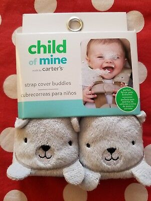 Carters Strap Cover Set Gray Bear