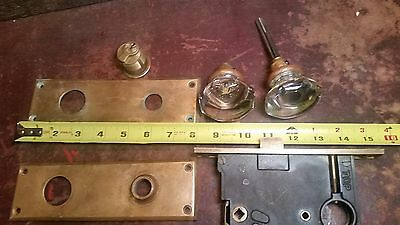 Vintage Antique Glass Crystal Door Knob Handle Brass Keyhole Covers Mechanism
