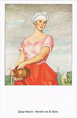 FAKSIMILE 1931, Junge Bäuerin, S. Sorin, Kunstdruck, the farmer´s wife (12)