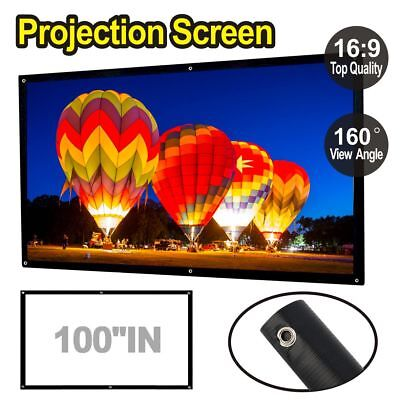 """100"""" Inch Projector Projection Screen 16:9 White Matte Home Cinema Theater"""