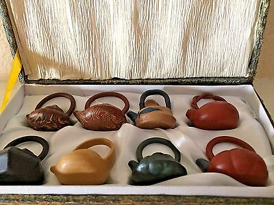 VINTAGE CHINESE MINIATURE YIXING CLAY TEAPOTS,8 PIECES ,1 in.