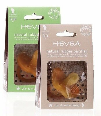 Hevea Natural Rubber Baby Pacifier Dummy Star & Moon Design 100% Natural Rubber