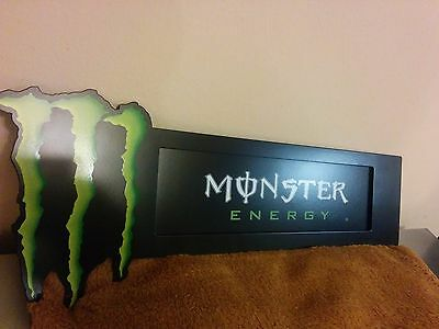 Brand New Metal Monster Energy Drink Cooler Suction Cup Sign Store Display 15x4