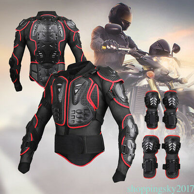 Full Body Armor Shirt Jacket Protection Gear Knee Shin Guard Pads Motorcycle New