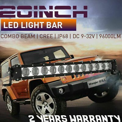 20inch 6300W Cree LED Light Bar 7D LENS FloodSpot Combo BEAM Work Drivingoffroad