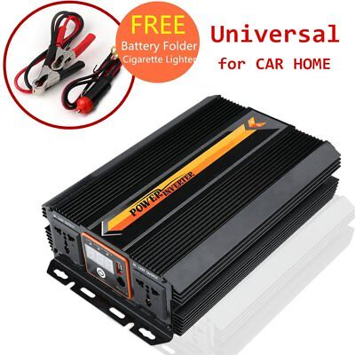 Pure Sine Wave Voltage Converter 12V 240V 4000/4500W Display W/ Battery Folder
