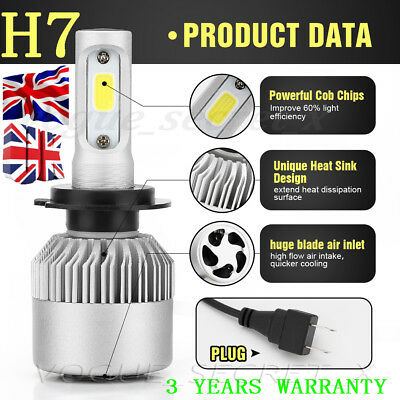 H7 200W 20000LM LED Headlight Conversion Kit Car Beam Bulbs Driving Lamps White