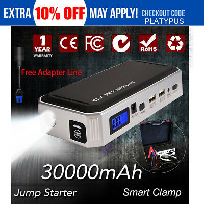 800A Emergency Jump Starter & Battery Charger Car 12V Vehicle Portable 30000mAh