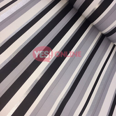 Metallic Shiny Striped Textured Wallpaper Barcode Silver