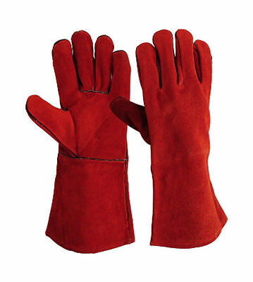 1, 10 Pairs Heavy Duty RED Mig Welding Gloves Gauntlets Welders Leather Gloves