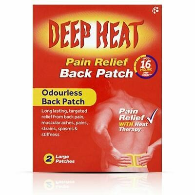 Deep Heat Pain Relief Odourless Back Patch - 2 Large Patches 1 2 3 6 12 Packs