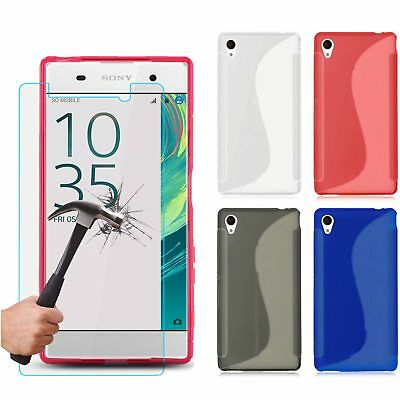 S Line Rubber Gel TPU Skin Case Cover & Tempered Glass For Various Sony Experia