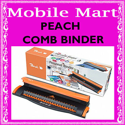 Peach◉Comb Binding Machine A4◉Plastic 21 Loop Hole Punch Binder◉Binds 50 Sheets◉