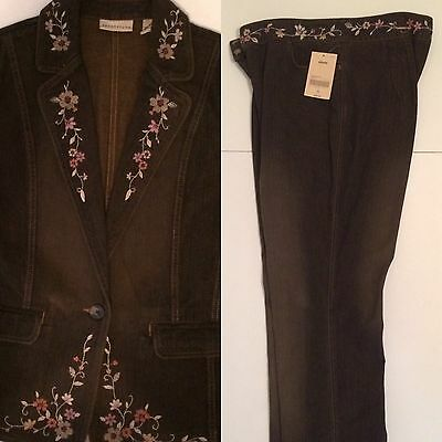 Apostrophe  Women's Size 18 Embroidered Flower Design Jean Outfit New