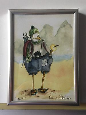 """Seagull """"Tourist"""" Caricature, a signed print of a watercolour-silver metal frame"""