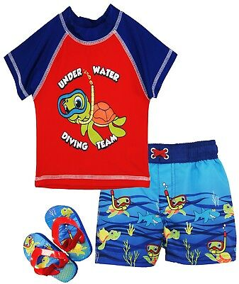 Wippette Toddler Boys Swimwear Turtle Rashguard Top Swim Trunk Set w/ Flip Flops