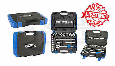 "DRAPER 16362 1/2"" Square Drive Metric Socket Set (24 Piece) With Ratchet 16362"