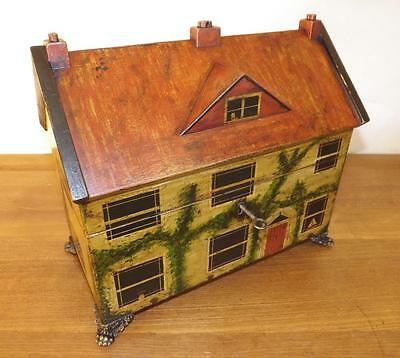 Antique Grand Regency Painted House Tea Caddy. (Regency 1811-1820)