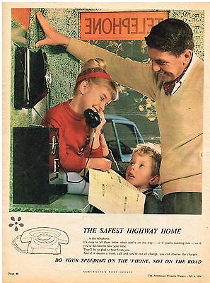 AUSTRALIAN POST OFFICE TELEPHONES AD FAMILY Original 1966 Vintage Print Ad SSV