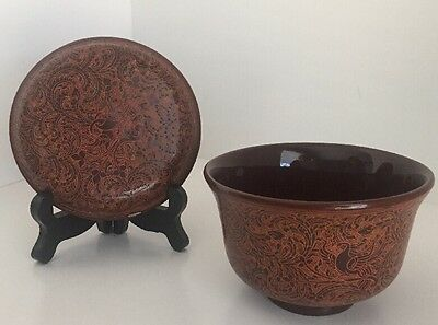 Exquisite Burmese Lacquered And Engraved Bowl With Lid. (Betel Box) Signed