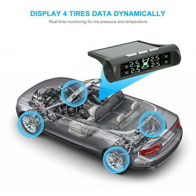 TPMS Car Tyre Tire Pressure Monitor Alarm System Wireless Solar/USB Universal