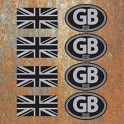 GB Union Jack Laminated Black Silver Stickers Motorbike Scooter Vespa Flag Decal