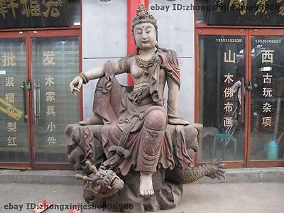 Huge Chinese Folk  Wood Carved GuanYin Bodhisattva Kwan-Yin Ride Dragon Buddha